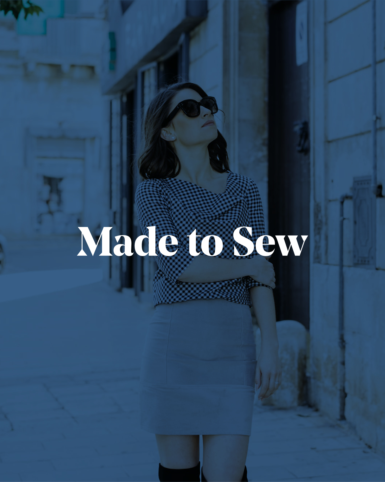 A lady in sunglasses with Made to Sew logo laid on top