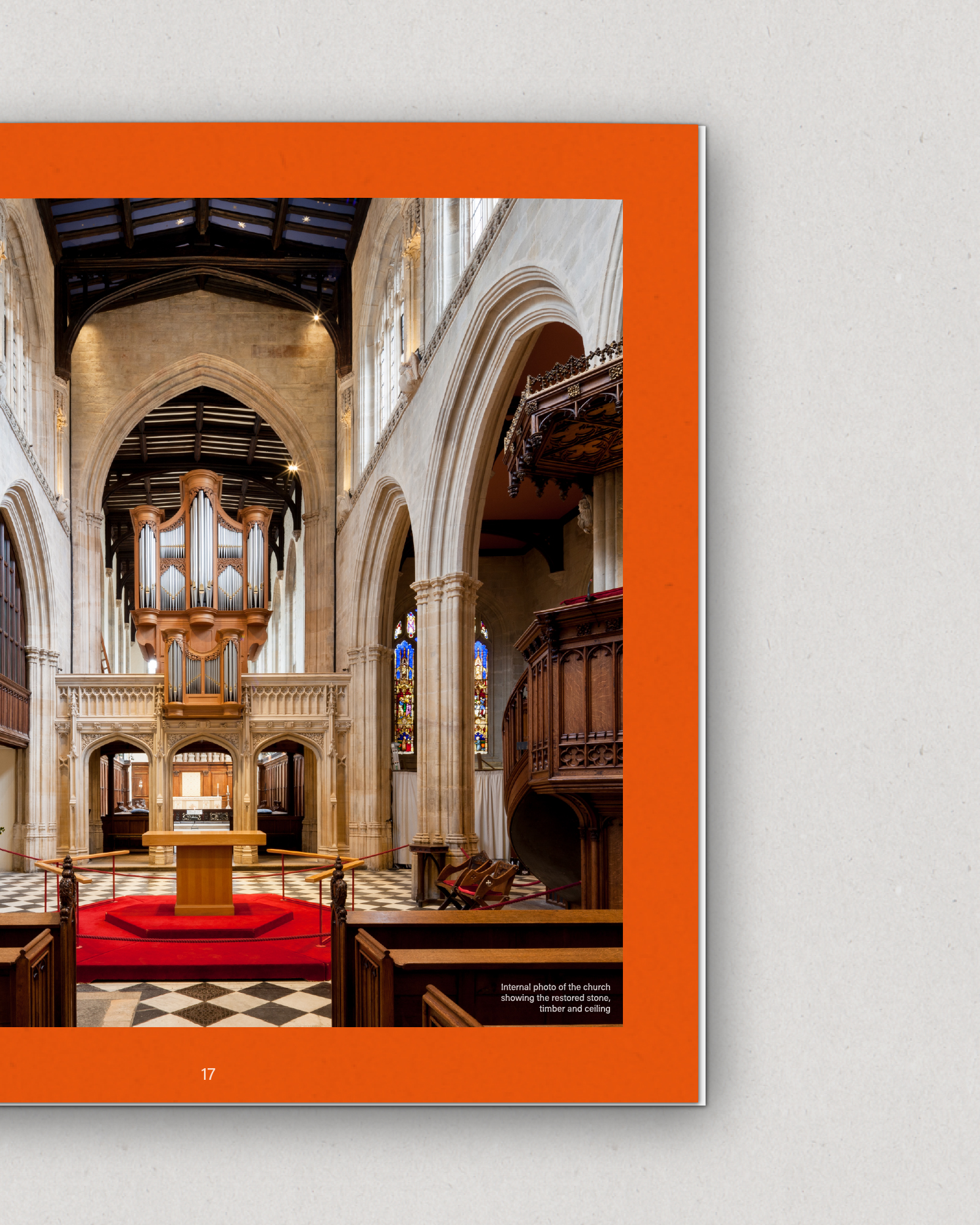 Example of brochure design showing interior of Oxford church