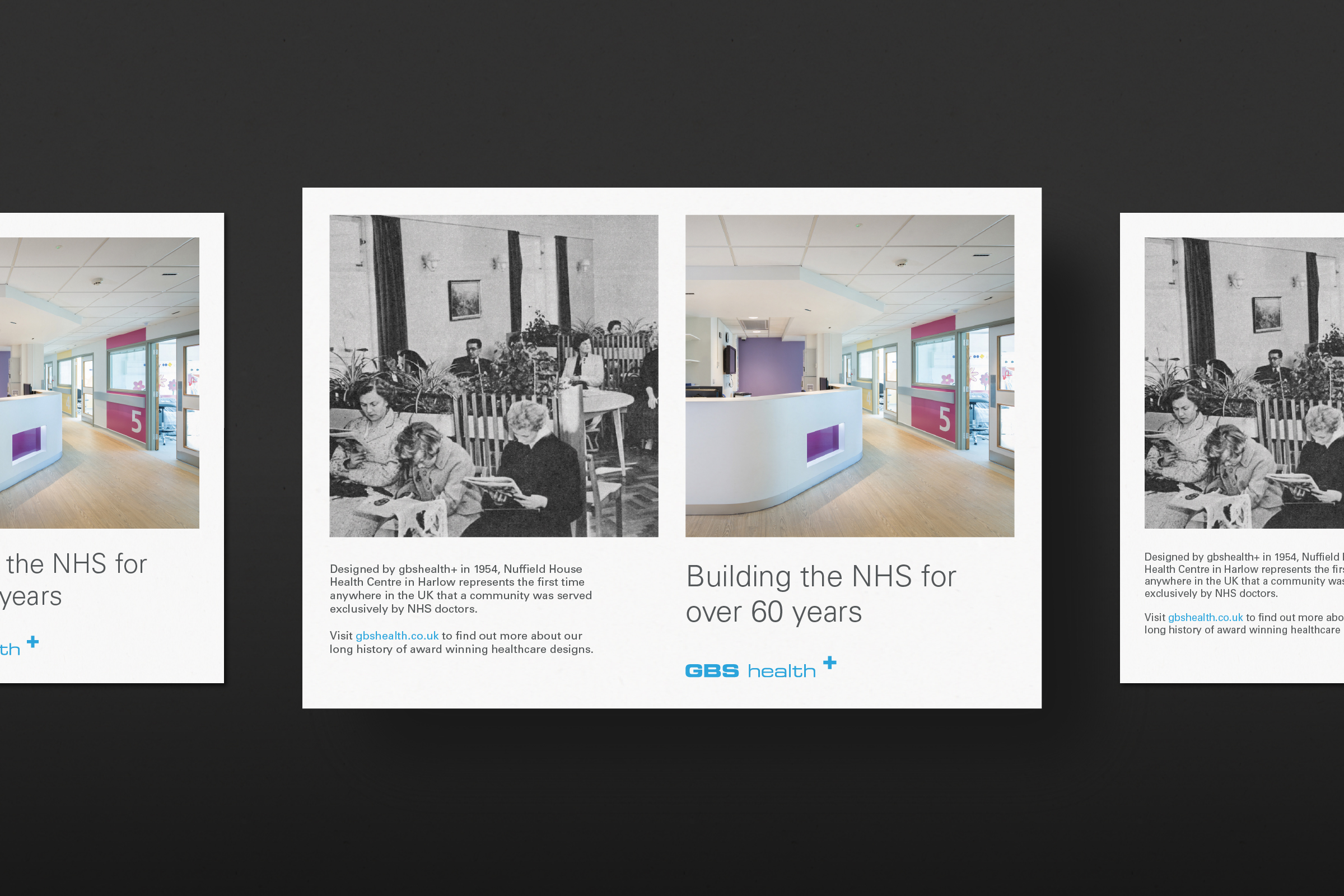 Flyer design showing architectural work for the NHS