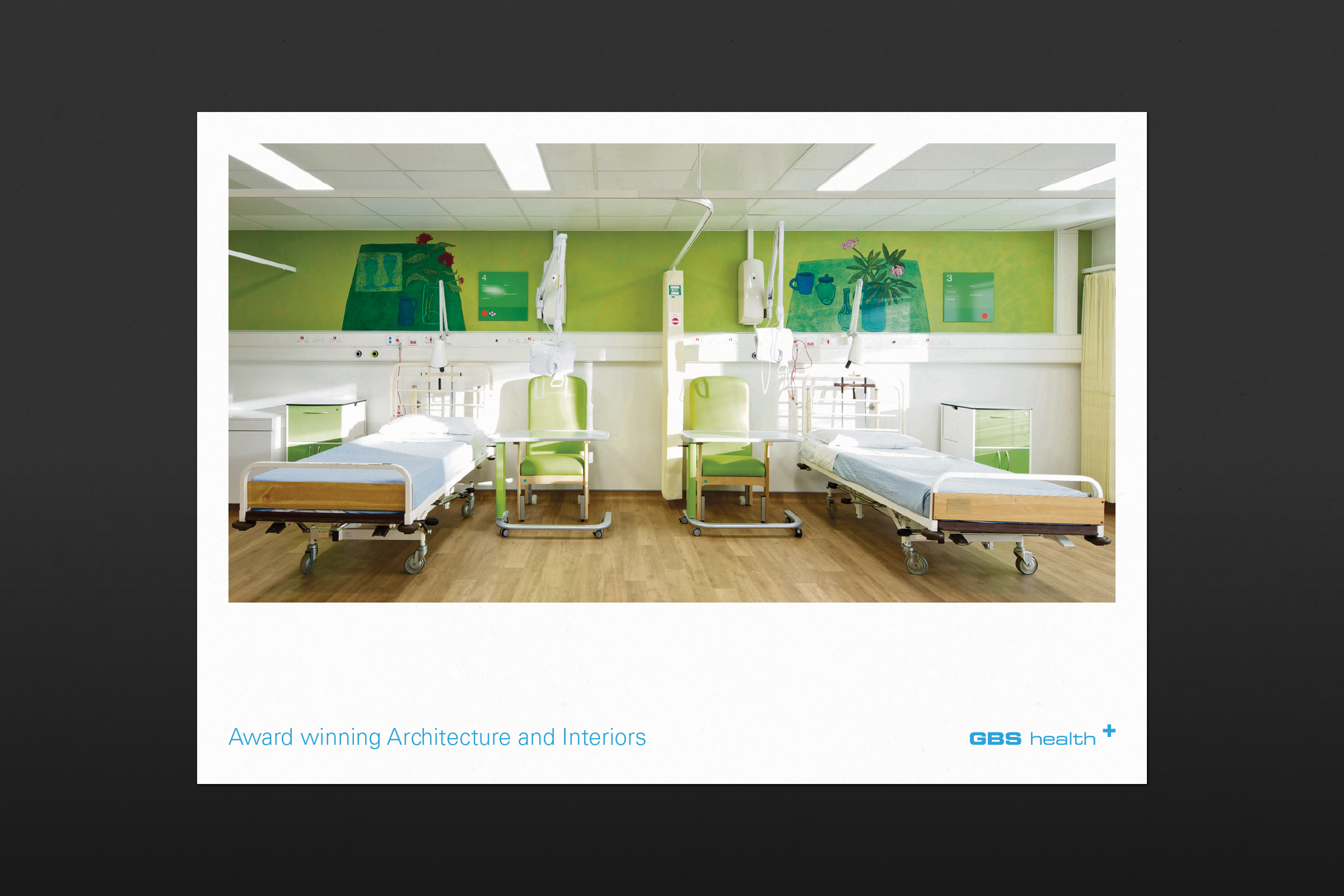 Brochure design showing image of hospital ward for GBS Architects
