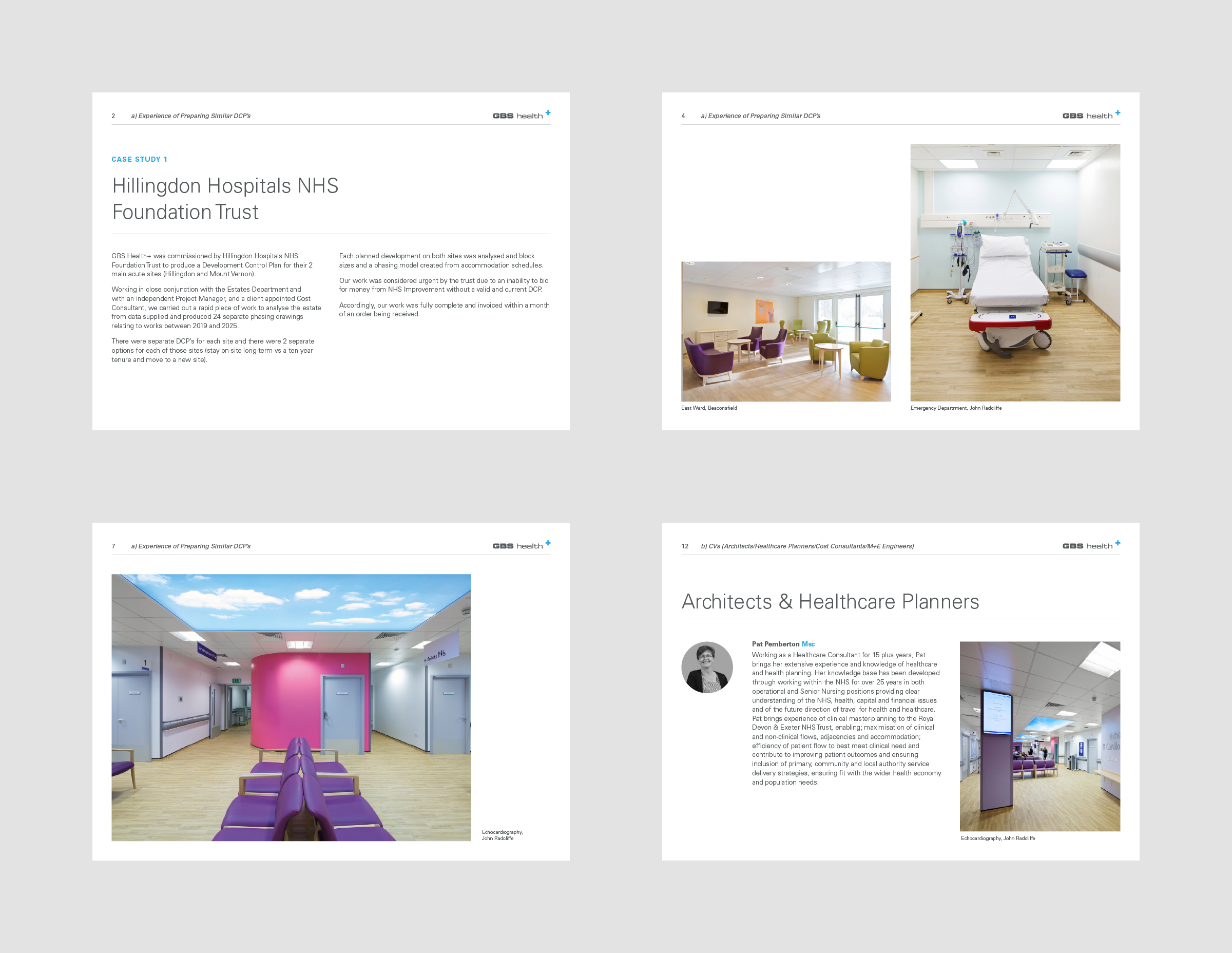4 pages of a brochure for Oxford architectural practice, GBS Architects