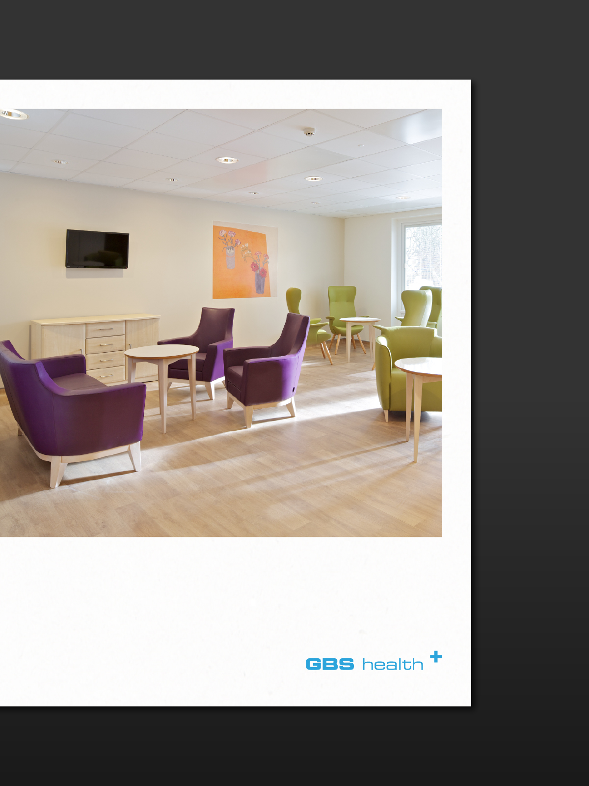 Flyer design with an image of a waiting room for GBS Architects