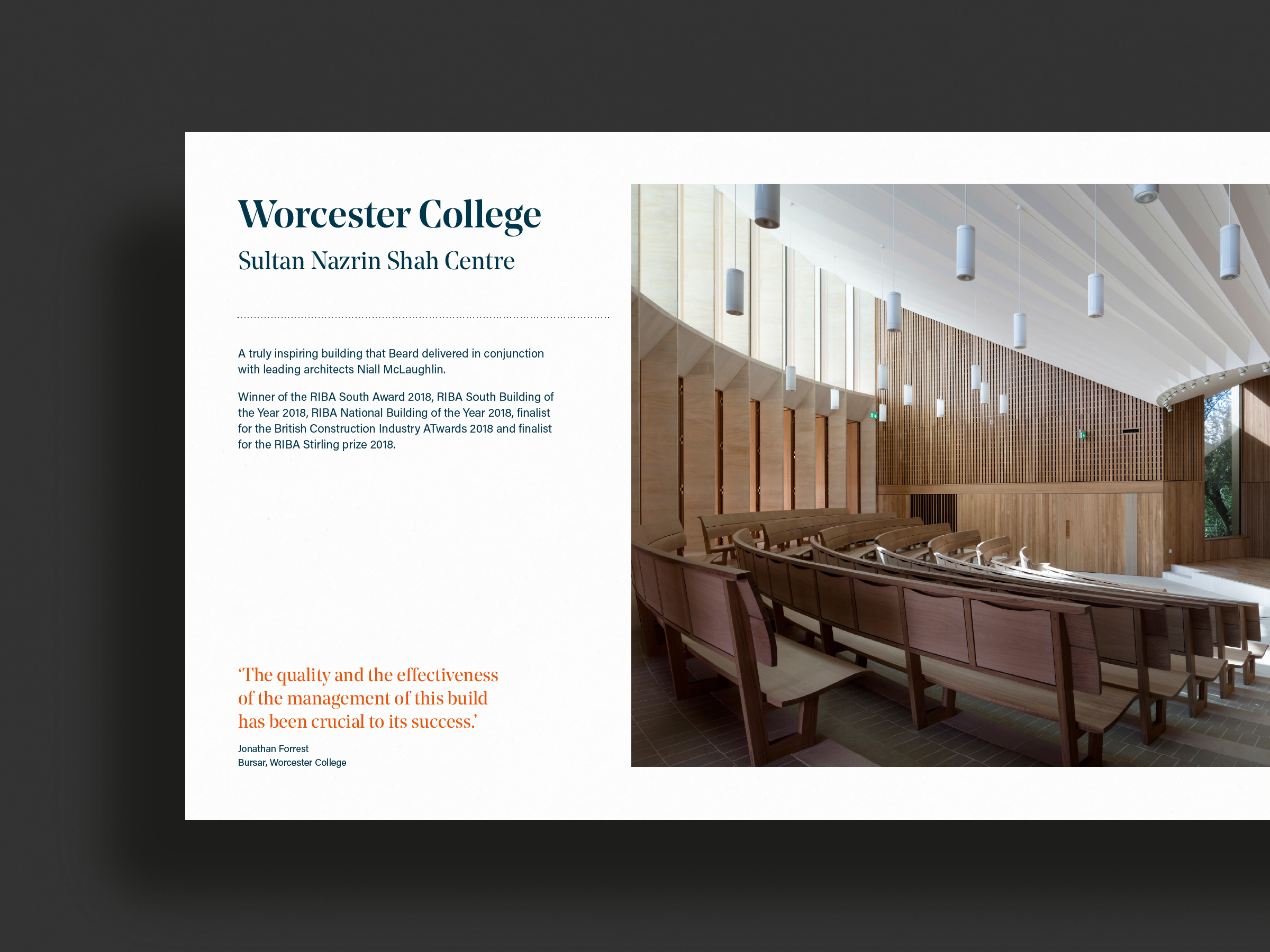 A brochure showing an Oxford lecture theatre