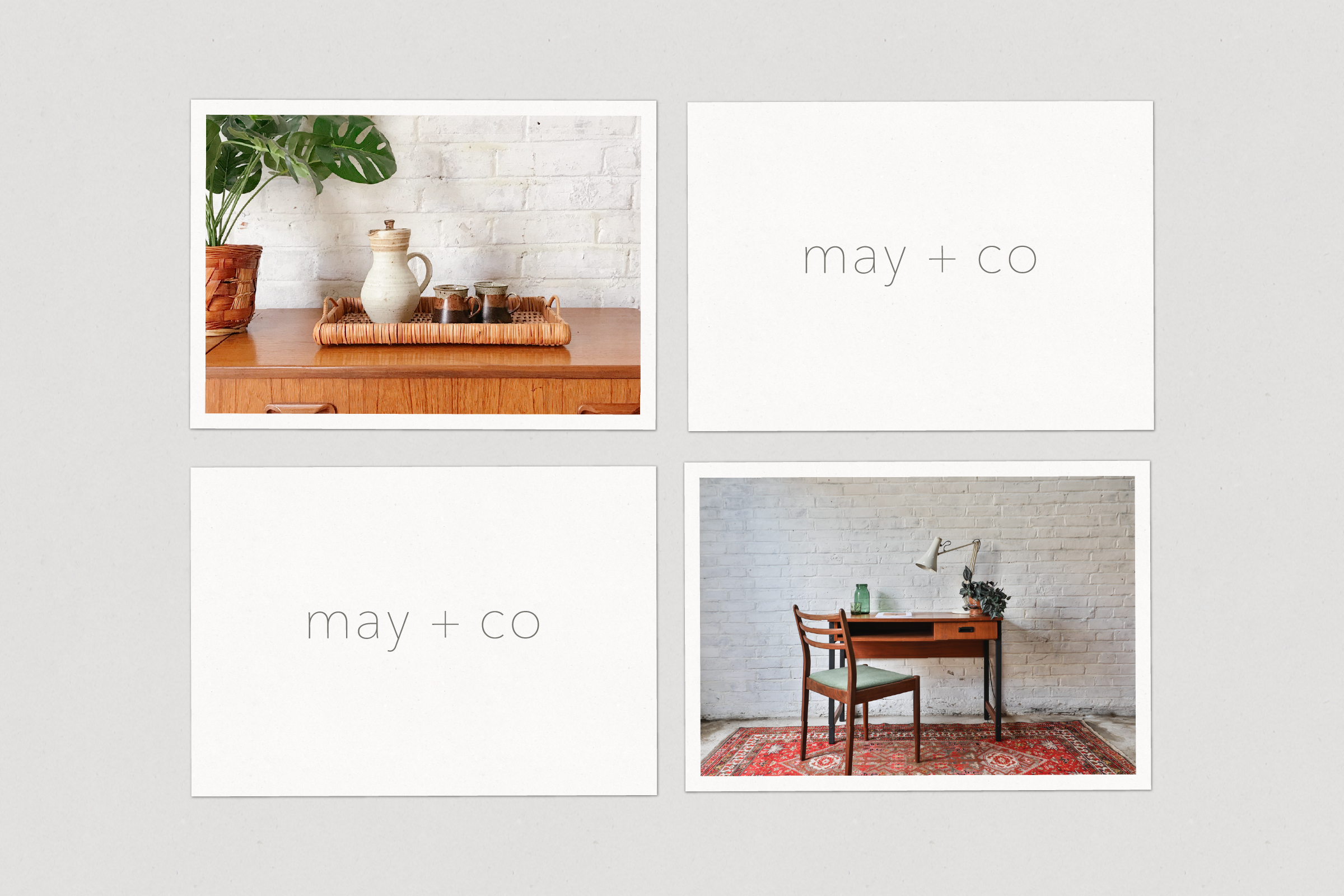 Image of 4 promotional postcards for May + Co