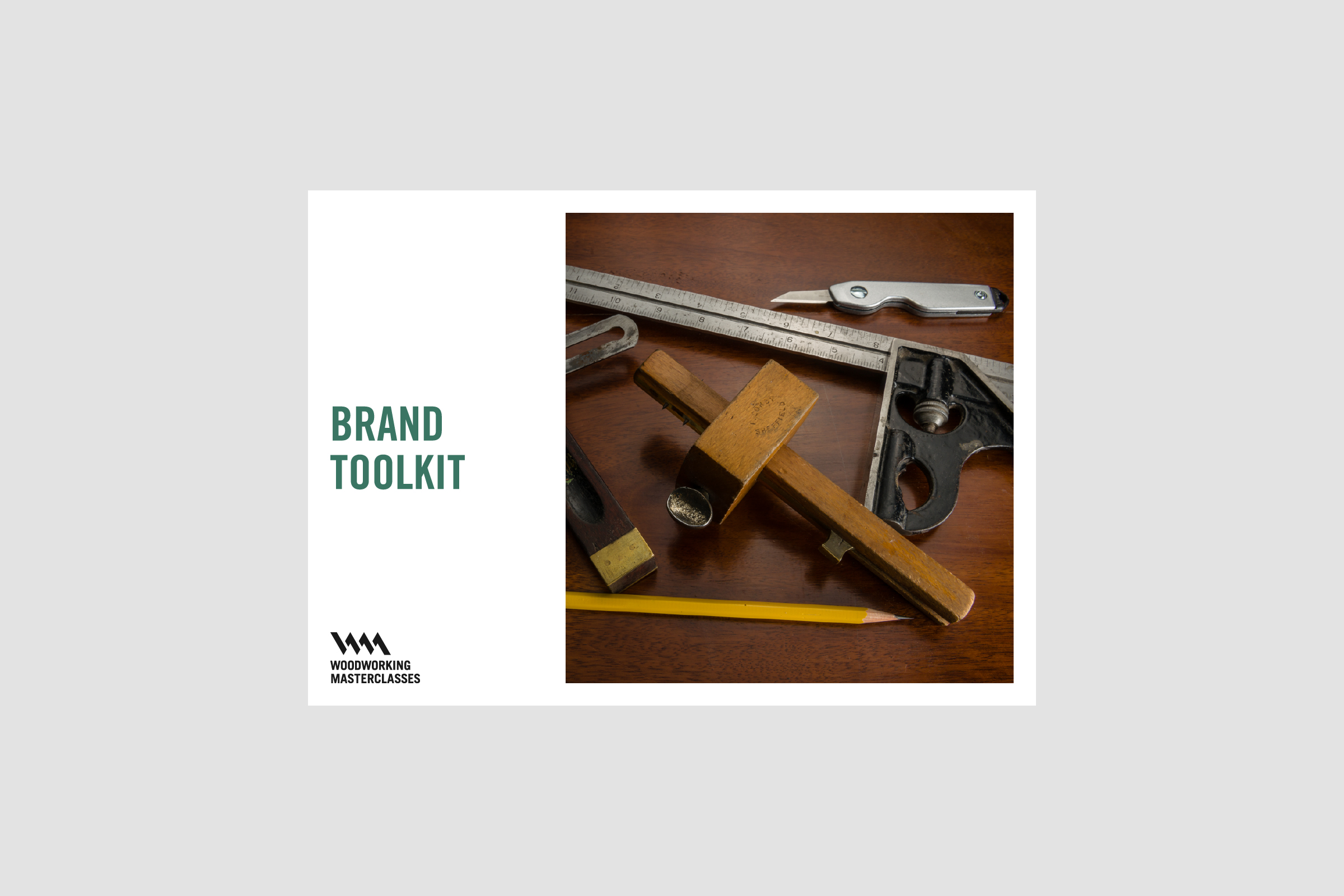 Front page of brand guidelines for Woodworking Masterclasses