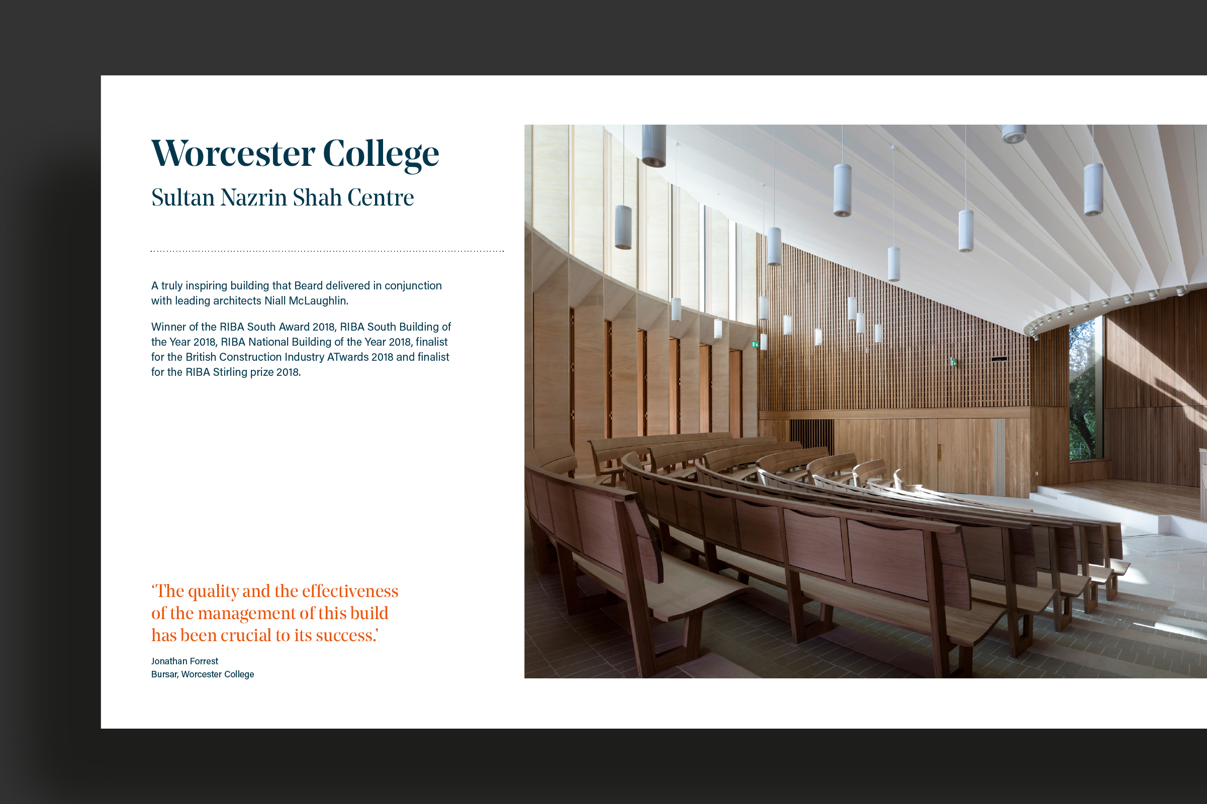 Brochure design showing an Oxford lecture theatre